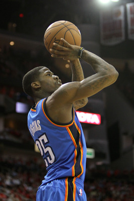 Apr 29, 2013; Houston, TX, USA; Oklahoma City Thunder shooting guard DeAndre Liggins (25) takes a shot against the Houston Rockets in the fourth quarter in game four of the first round of the 2013 NBA playoffs at the Toyota Center. The Rockets defeated th