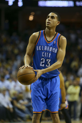 May 13, 2013; Memphis, TN, USA; Oklahoma City Thunder shooting guard Kevin Martin (23) shoots a free throw in game four of the second round of the 2013 NBA Playoffs against the Memphis Grizzlies at FedEx Forum.  Memphis Grizzlies defeat the Oklahoma City