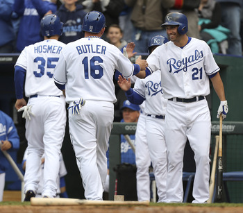 Eric Hosmer (left), Billy Butler (middle) and Jeff Francoeur (right).