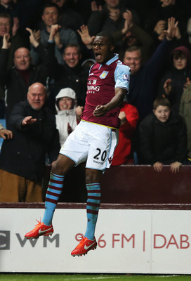BIRMINGHAM, ENGLAND - APRIL 29:  Christian Benteke of Aston Villa celebrates scoring during the Barclays Premier League match between Aston Villa and Sunderland at Villa Park on April 29, 2013 in Birmingham, England.  (Photo by Richard Heathcote/Getty Ima
