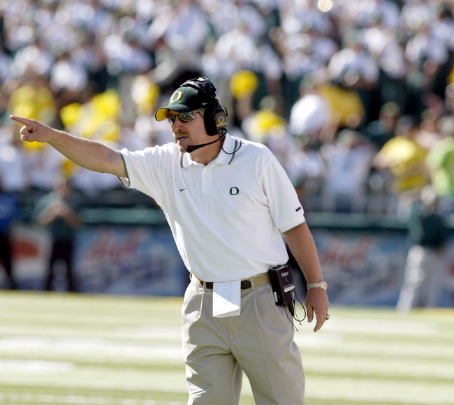 Mike Belotti , head coach of the Oregon Ducks  argues a call during their game againt the Michigan Wolverines gameat Autzen Stadium in Eugene, Oregon. Oregon defeated Michigan 31-27. (Photo by Tom Hauck/Getty Images)