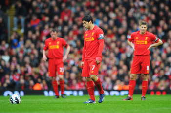Amongst giants: Suarez is flanked by two club megaliths.