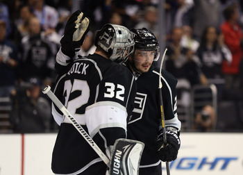 Jonathan Quick stopped 35 shots to shut out the Sharks.