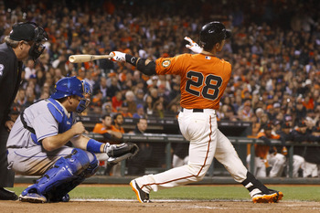 Buster Posey blasts a home run against the Dodgers.