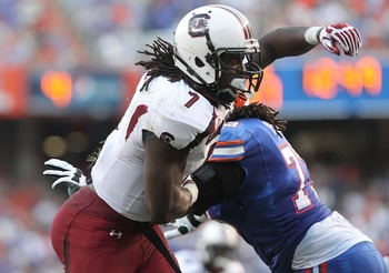 Jadeveon Clowney certainly has NFL scouts intrigued by his huge potential.