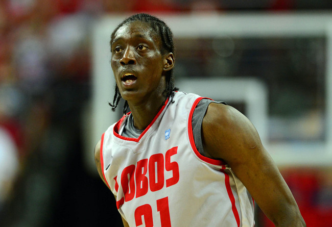 Mar 16, 2013; Las Vegas, NV, USA; New Mexico Lobos guard Tony Snell (21) during the game against the UNLV Rebels in the championship game of the Mountain West tournament at the Thomas & Mack Center. The Lobos defeated the Rebels 63-56. Mandatory Credit: R