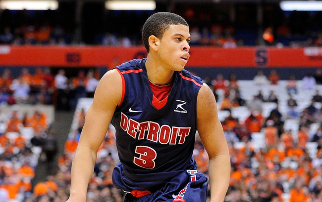 Dec 17, 2012; Syracuse, NY, USA; Detroit Titans guard Ray McCallum (3) scans the court during the second half against the Syracuse Orange at the Carrier Dome.  Syracuse defeated Detroit 72-68.  Mandatory Credit: Rich Barnes-USA TODAY Sports