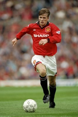 16 Sep 1995:  David Beckham of Manchester United in action during an FA Carling Premiership match against Bolton Wanderers at Old Trafford in Manchester, England. Manchester United won the match 3-0. \ Mandatory Credit: Shaun  Botterill/Allsport