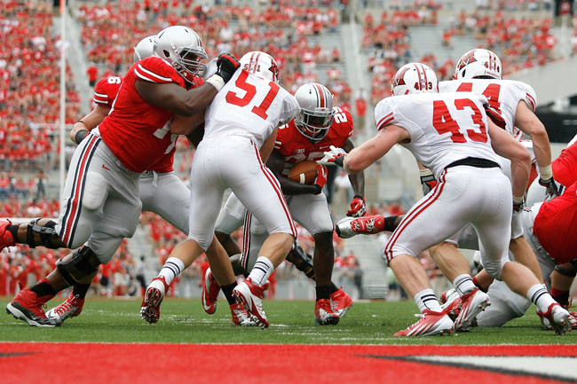COLUMBUS, OH - SEPTEMBER 1:  Bri'onte Dunn #25 of the Ohio State Buckeyes carries the ball during the fourth quarter against the Miami Redhawks on September 1, 2012 at Ohio Stadium in Columbus, Ohio. Ohio State defeated Miami 56-10. (Photo by Kirk Irwin/G