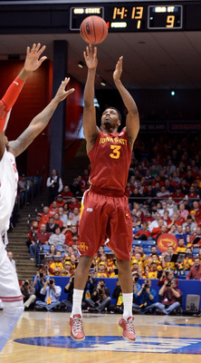 DAYTON, OH - MARCH 24: Melvin Ejim #3 of the Iowa State Cyclones shoots against the Ohio State Buckeyes in the first half during the third round of the 2013 NCAA Men's Basketball Tournament at UD Arena on March 24, 2013 in Dayton, Ohio.  (Photo by Jason M