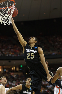 AUSTIN, TX - MARCH 22:  Spencer Dinwiddie #25 of the Colorado Buffaloes lays up during the second round of the 2013 NCAA Men's Basketball Tournament against the Illinois Fighting Illini at The Frank Erwin Center on March 22, 2013 in Austin, Texas.  (Photo