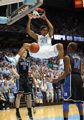 CHAPEL HILL, NC - MARCH 09:  James Michael McAdoo #43 of the North Carolina Tar Heels reacts after dunking the ball as teammates Mason Plumlee #5 and Rasheed Sulaimon #14 of the Duke Blue Devils watch on during their game at the Dean E. Smith Center on Ma
