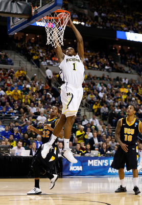 AUBURN HILLS, MI - MARCH 23:  Glenn Robinson III #1 of the Michigan Wolverines dunks in the second half against the Virginia Commonwealth Rams during the third round of the 2013 NCAA Men's Basketball Tournament at The Palace of Auburn Hills on March 23, 2