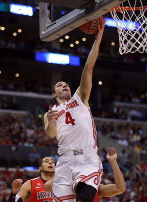 LOS ANGELES, CA - MARCH 28:  Aaron Craft #4 of the Ohio State Buckeyes lays the ball up in the first half while taking on the Arizona Wildcats during the West Regional of the 2013 NCAA Men's Basketball Tournament at Staples Center on March 28, 2013 in Los