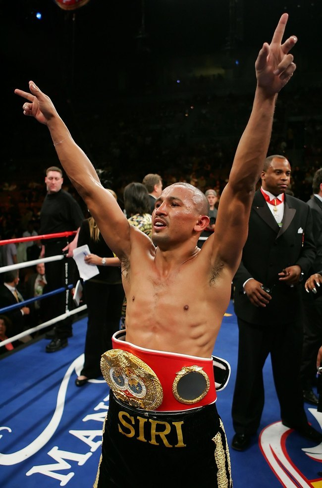 LAS VEGAS - NOVEMBER 04:  Orlando Salido of Mexico celebrates his victory against Robert Guerrero after their IBF Featherweight Championship fight at the Mandalay Bay Events Center November 4, 2006 in Las Vegas, Nevada. Salido won by unanimous decision.