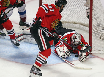 Blackhawks' defensemen have helped Crawford immensely this season.