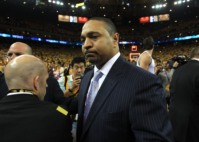 OAKLAND, CA - MAY 02:  Head coach Mark Jackson of the Golden State Warriors looks on after defeating the Denver Nuggets during Game Six of the Western Conference Quarterfinals of the 2013 NBA Playoffs at ORACLE Arena on May 2, 2013 in Oakland, California.