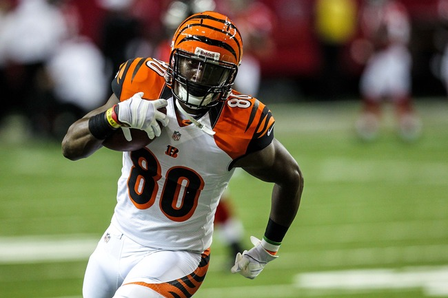 August 16, 2012; Atlanta, GA, USA; Cincinnati Bengals tight end Orson Charles (80) warms up before the game against the Atlanta Falcons at the Georgia Dome. The Bengals beat the Falcons 24-19. Mandatory Credit: Daniel Shirey-USA TODAY Sports