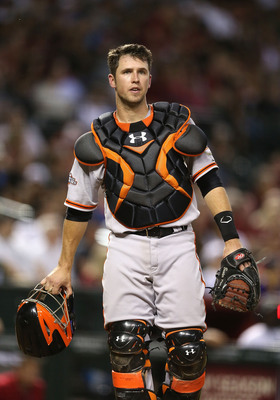 Buster Posey works closely with the Giants' pitchers.
