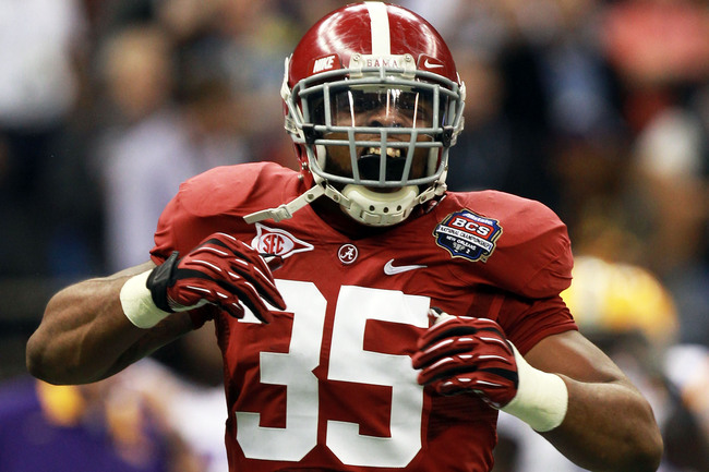 NEW ORLEANS, LA - JANUARY 09:  Nico Johnson #35 of the Alabama Crimson Tide reacts after a defensive stop against the Louisiana State University Tigers during the 2012 Allstate BCS National Championship Game at Mercedes-Benz Superdome on January 9, 2012 i