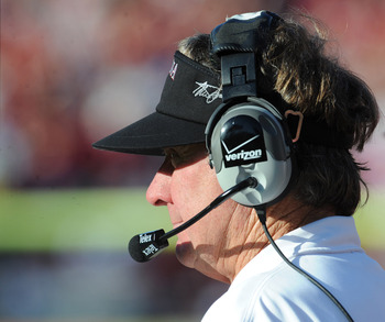 TAMPA, FL - JANUARY 01:  Coach Steve Spurrier of the South Carolina Gamecocks directs play during a 33 - 28 victory against the Michigan Wolverines in the Outback Bowl January 1, 2013 at Raymond James Stadium in Tampa, Florida. (Photo by Al Messerschmidt/