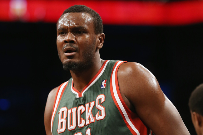 NEW YORK, NY - FEBRUARY 19: Samuel Dalembert #21 of the Milwaukee Bucks plays against the Brooklyn Nets at the Barclays Center on February 19, 2013 in New York City. NOTE TO USER: User expressly acknowledges and agrees that, by downloading and/or using th