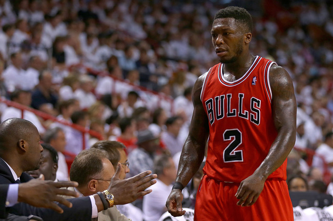 MIAMI, FL - MAY 15: Nate Robinson #2 of the Chicago Bulls looks on during Game Five of the Eastern Conference Semifinals of the 2013 NBA Playoffs against the Miami Heat at American Airlines Arena on May 15, 2013 in Miami, Florida. NOTE TO USER: User expre