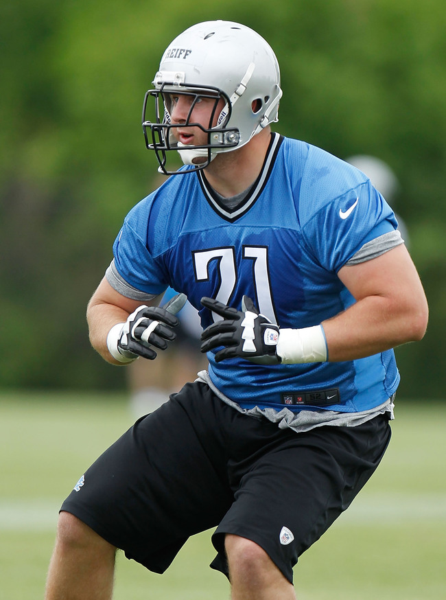ALLEN PARK, MI - MAY 12:  Riley Reiff #71 of the Detroit Lions does a drill during a rookie mini camp at the Detroit Lions Headquarters and Training Facility on May 12, 2012 in Allen Park, Michigan. (Photo by Gregory Shamus/Getty Images)