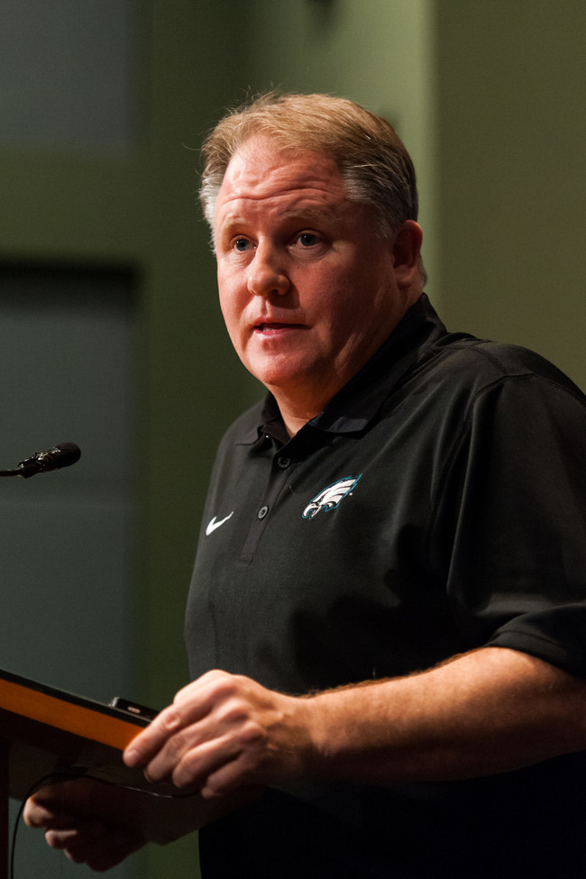 Apr 26, 2013; Philadelphia, PA, USA; Philadelphia Eagles head coach Chip Kelly addresses the media during a press conference at the NovaCare Complex. Mandatory Credit: Howard Smith-USA TODAY Sports