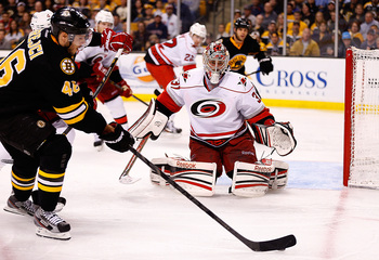 With Cam Ward missing almost two months with an injury, backup goaltenders Justin Peters and Dan Ellis (pictured) both struggled under the heavy workload. What will become of the Hurricanes' netminding unit this summer?