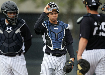 Feb 14, 2013; Tampa, FL, USA; New York Yankees catcher Gary Sanchez during spring training at Steinbrenner Field.  Mandatory Credit: John Munson/THE STAR-LEDGER via USA TODAY Sports
