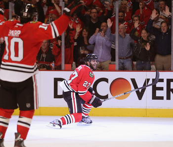 Johnny Oduya has two goals and an assist in the playoffs.