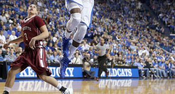 LEXINGTON, KY - NOVEMBER 16:  Nerlens Noel #3 of the Kentucky Wildcats dunks the ball during the game against Lafayette Leopards at Rupp Arena on November 16, 2012 in Lexington, Kentucky.  Kentucky won 101-49.  (Photo by Andy Lyons/Getty Images)