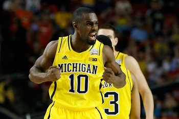 ATLANTA, GA - APRIL 06:  Tim Hardaway Jr. #10 of the Michigan Wolverines reacts in the second half against the Syracuse Orange during the 2013 NCAA Men's Final Four Semifinal at the Georgia Dome on April 6, 2013 in Atlanta, Georgia.  (Photo by Kevin C. Co