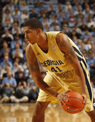 Jan, 29, 2012; Chapel Hill, NC, USA; Georgia Tech Yellow Jackets forward Glen Rice Jr. (41) on the court in the first half at the Dean E. Smith Center. Mandatory Credit: Bob Donnan-USA TODAY Sports