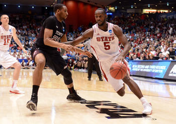 DAYTON, OH - MARCH 22: C.J. Leslie #5 of the North Carolina State Wolfpack drives with the ball against Rahlir Hollis-Jefferson #32 of the Temple Owls in the second half during the second round of the 2013 NCAA Men's Basketball Tournament at UD Arena on M