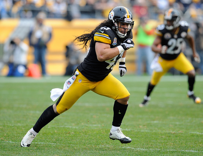 PITTSBURGH, PA - DECEMBER 09:  Troy Polamalu #43 of the Pittsburgh Steelers runs a play during the game against the San Diego Chargers on December 9, 2012 at Heinz Field in Pittsburgh, Pennsylvania.  (Photo by Joe Sargent/Getty Images)