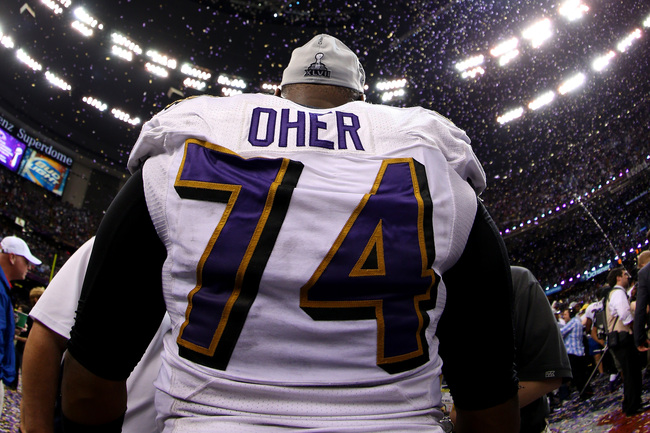 NEW ORLEANS, LA - FEBRUARY 03: Michael Oher #74 of the Baltimore Ravens celebrates after defeating the San Francisco 49ers during Super Bowl XLVII at the Mercedes-Benz Superdome on February 3, 2013 in New Orleans, Louisiana. The Ravens defeated the 49ers