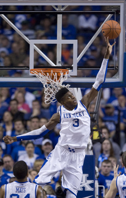 Dec 15, 2012; Lexington, KY, USA; Kentucky Wildcats forward Nerlens Noel (3) blocks a shot in the game against the Lipscomb Bisons in the first half at Rupp Arena. Mandatory Credit: Mark Zerof-USA TODAY Sports