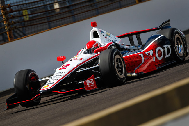 INDIANAPOLIS, IN - MAY 12: AJ Allmendinger of the #2  Chevrolet for Penske Racing drives during Indianapolis 500 practice at the Indianapolis Motor Speedway on May 12, 2013 in Indianapolis, Indiana. (Photo by Michael Hickey/Getty Images)