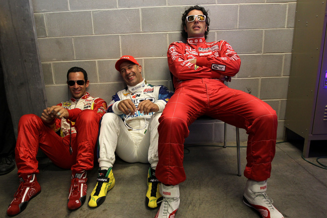 INDIANAPOLIS, IN - MAY 27:  (L-R) Helio Castroneves, driver of the #3 Shell V-Power/Penzoil Ultra Team Penske Chevrolet, Tony Kannan, driver of the #11 GEICO-Mouser Electronics KVRT Chevrolet and Dario Franchitti, driver of the #50 Target Chip Ganassi Rac