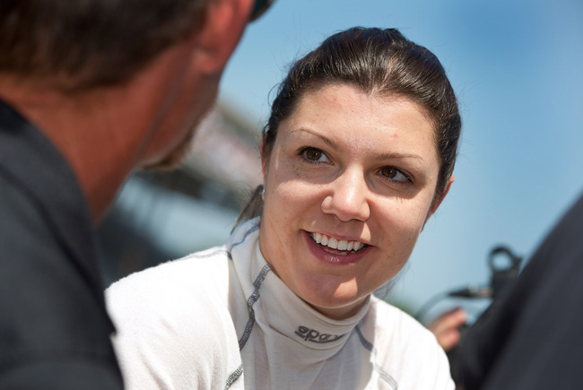 May 17, 2012; Indianapolis, IN, USA; IndyCar series driver Katherine Legge seen on pit road during practice for the Indianapolis 500 at the Indianapolis Motor Speedway.  Mandatory Credit: Michael Hickey-USA TODAY Sports
