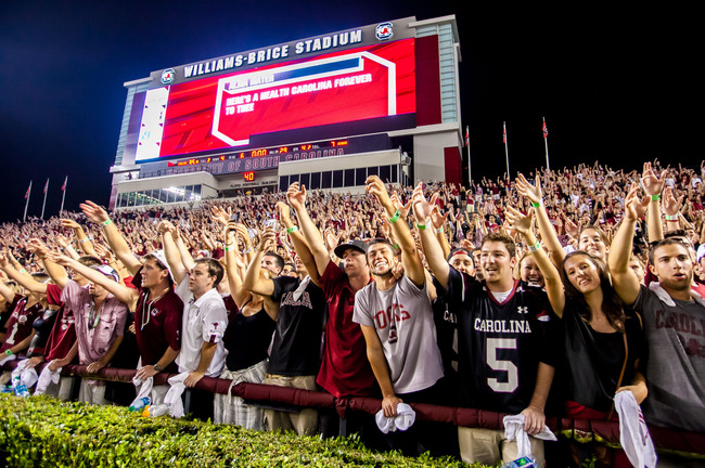 Oct 6, 2012; Columbia, SC, USA; South Carolina Gamecocks fans celebrate following their win over the Georgia Bulldogs at Williams-Brice Stadium. Mandatory Credit: Jeff Blake-USA TODAY Sports