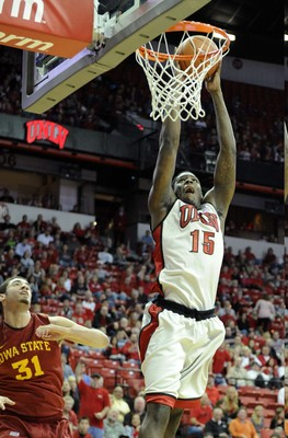 Nov 24, 2012; Las Vegas, NV, USA; UNLV Runnin' Rebels forward Anthony Bennett (15) is fouled while going up for a layup against Iowa State Cyclones forward Georges Niang (31) in the first half at the Thomas and Mack Center. Mandatory Credit: Josh Holmberg