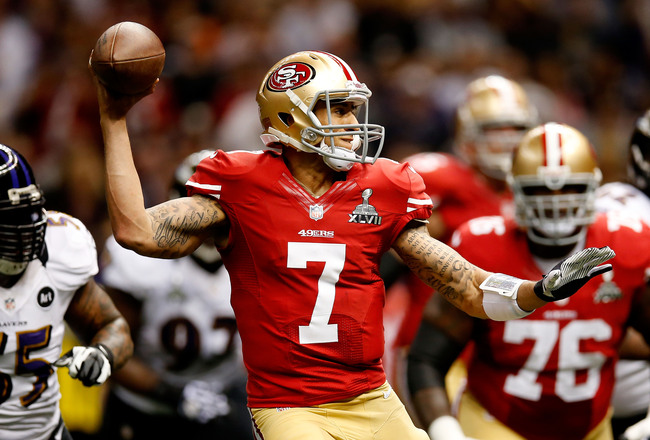 NEW ORLEANS, LA - FEBRUARY 03:  Colin Kaepernick #7 of the San Francisco 49ers looks to pass in the first quarter against the Baltimore Ravens during Super Bowl XLVII at the Mercedes-Benz Superdome on February 3, 2013 in New Orleans, Louisiana.  (Photo by
