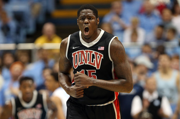 CHAPEL HILL, NC - DECEMBER 29:  Anthony Bennett #15 of the UNLV Rebels reacts after a basket during their game against the North Carolina Tar Heels at Dean Smith Center on December 29, 2012 in Chapel Hill, North Carolina.  (Photo by Streeter Lecka/Getty I