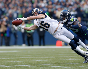 SEATTLE, WA - DECEMBER 30:  Wide receiver Danny Amendola #16 of the St. Louis Rams makes a diving catch against cornerback Marcus Trufant #23 of the Seattle Seahawks at CenturyLink Field on December 30, 2012 in Seattle, Washington.  (Photo by Otto Greule