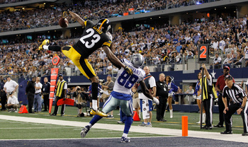ARLINGTON, TX - DECEMBER 16:  Keenan Lewis #23 of the Pittsburgh Steelers breaks up a pass intended for Dez Bryant #88 of the Dallas Cowboys in the end zone at Cowboys Stadium on December 16, 2012 in Arlington, Texas. The Dallas Cowboys beat the Pittsburg
