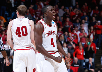 DAYTON, OH - MARCH 24: Victor Oladipo #4 of the Indiana Hoosiers celebrates after a play late in the game against the Temple Owls during the third round of the 2013 NCAA Men's Basketball Tournament at UD Arena on March 24, 2013 in Dayton, Ohio.  (Photo by