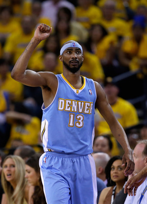 OAKLAND, CA - APRIL 26:  Corey Brewer #13 of the Denver Nuggets reacts after the Nuggets got a loose ball during their game against the Golden State Warriors during Game Three of the Western Conference Quarterfinals of the 2013 NBA Playoffs at ORACLE Aren